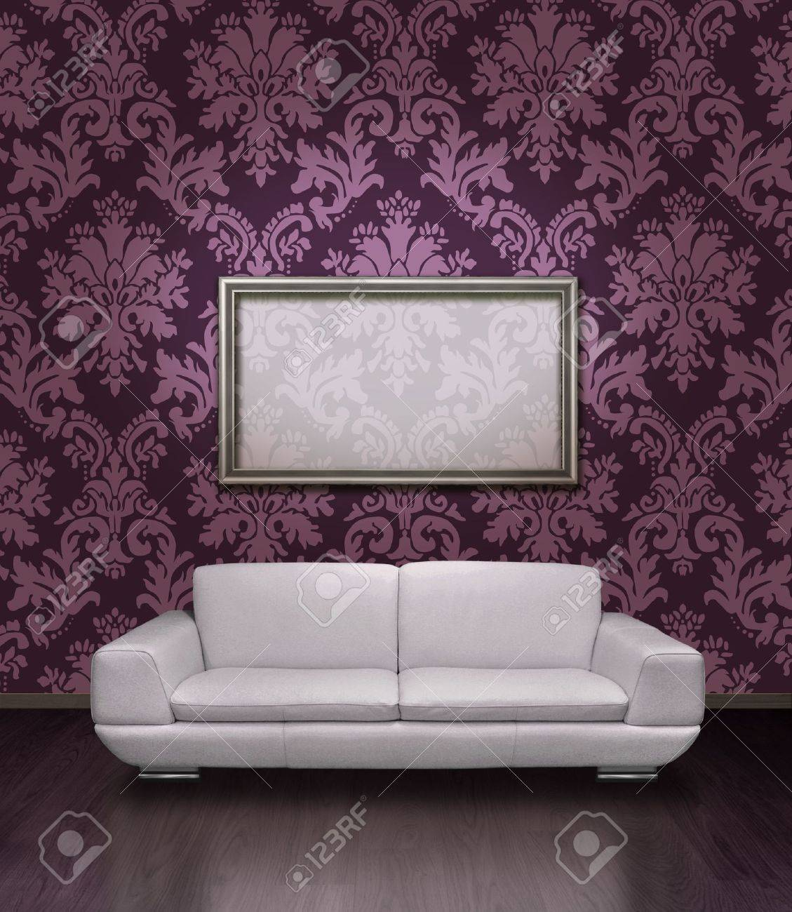 648f18d8655f Modern white leather sofa and silver plated frame in room with dark lilac  damask pattern wall