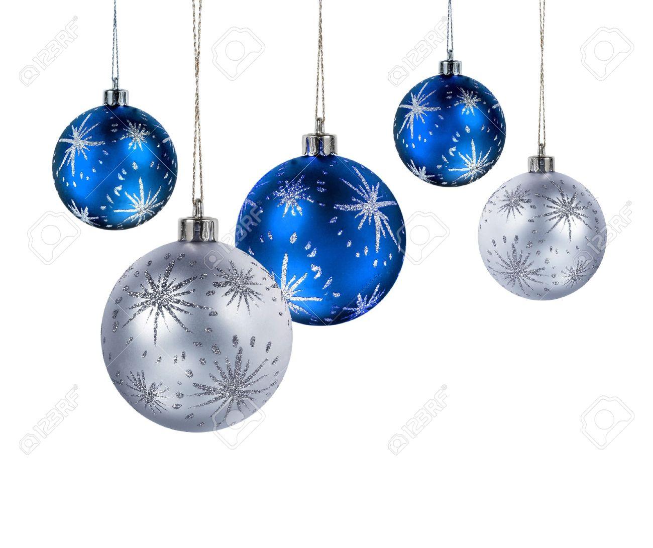 bola navidad navidad azul y plateado bolas colgantes aislados sobre fondo blanco foto de archivo