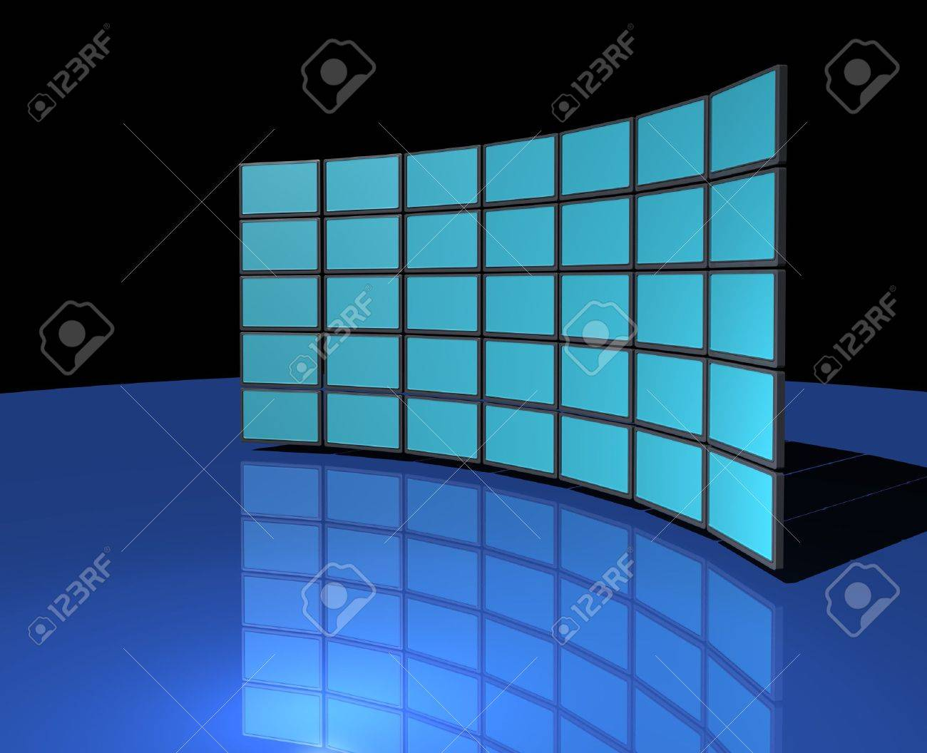 Background image 7945 - Stock Photo Widescreen Monitor Display Wall On Dark Blue Reflective Background