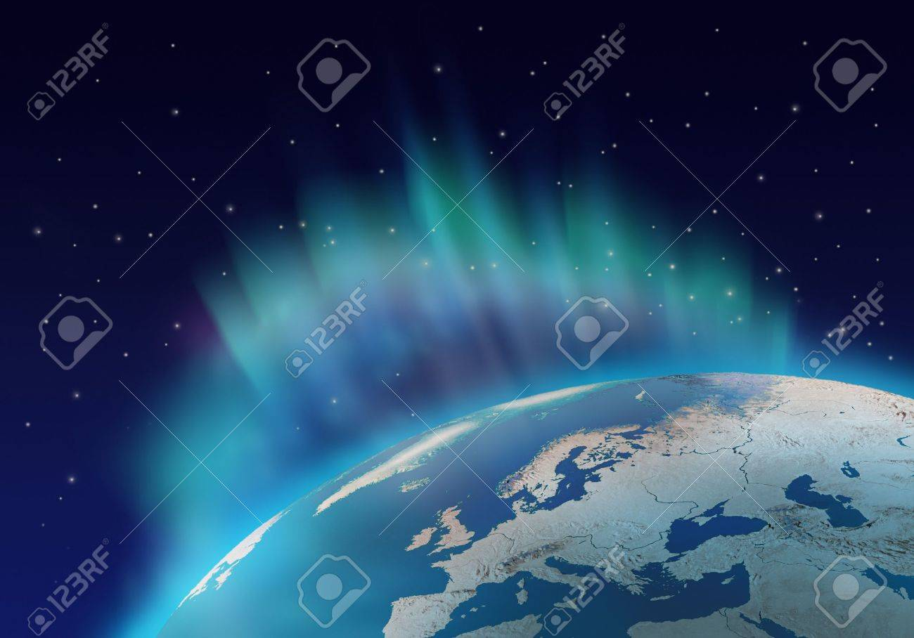 Northern lights aurora borealis over planet Earth northern hemisphere Stock Photo - 8058196