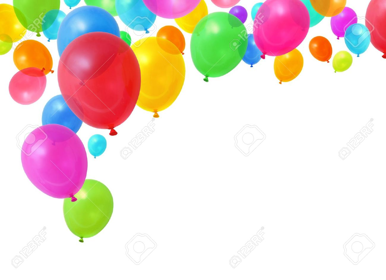 Colorful Birthday Party Balloons Flying On White Background Stock