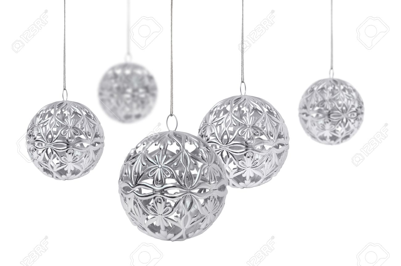 Shiny Silver Christmas Balls Hanging, Isolated On White Background ...