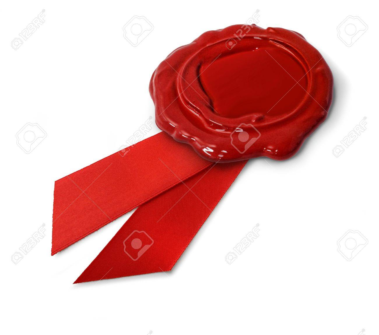 Red wax seal with ribbon isolated on white background Stock Photo - 8371747