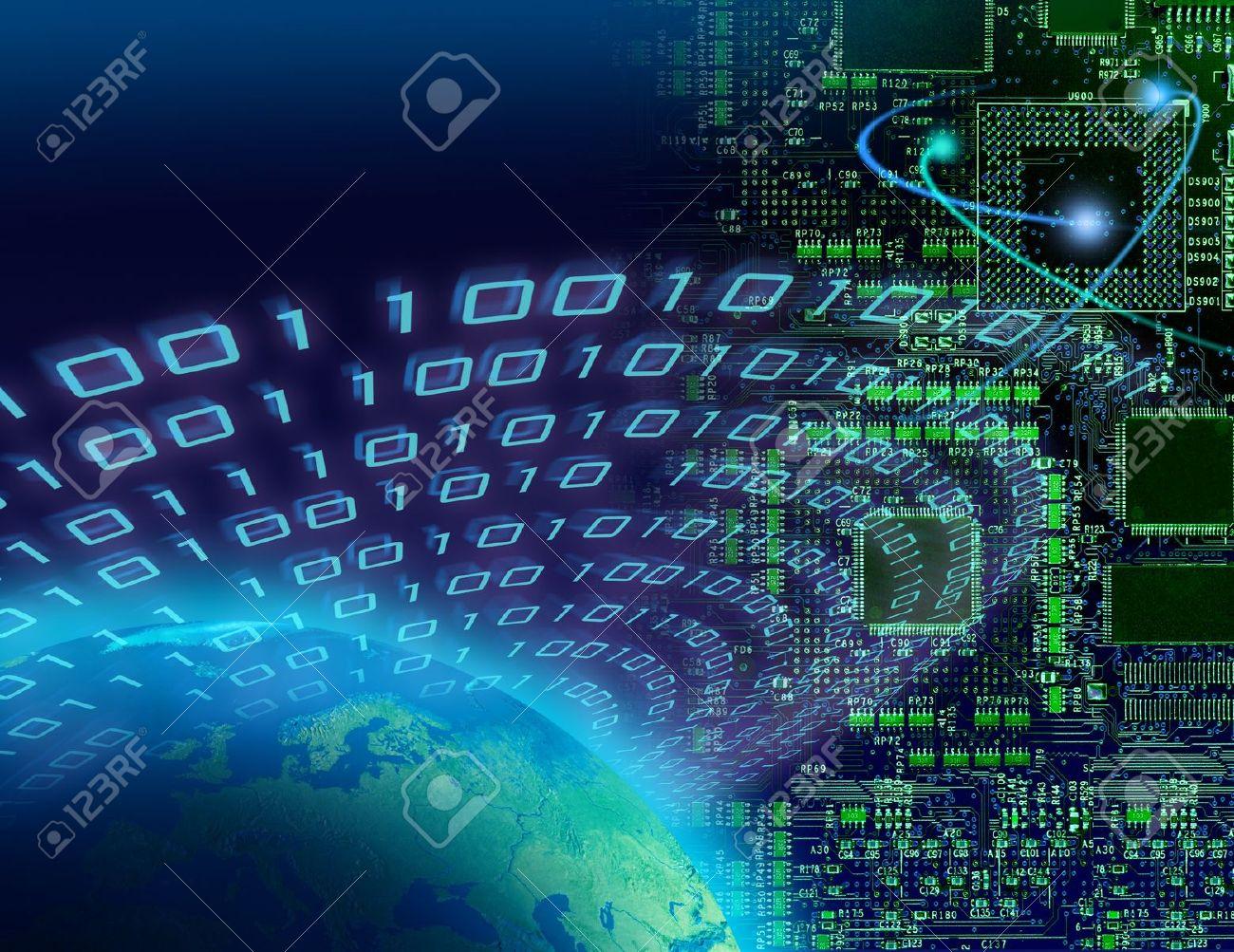 Binary data around globe, circuit board background, global digital technology concept - 8506133