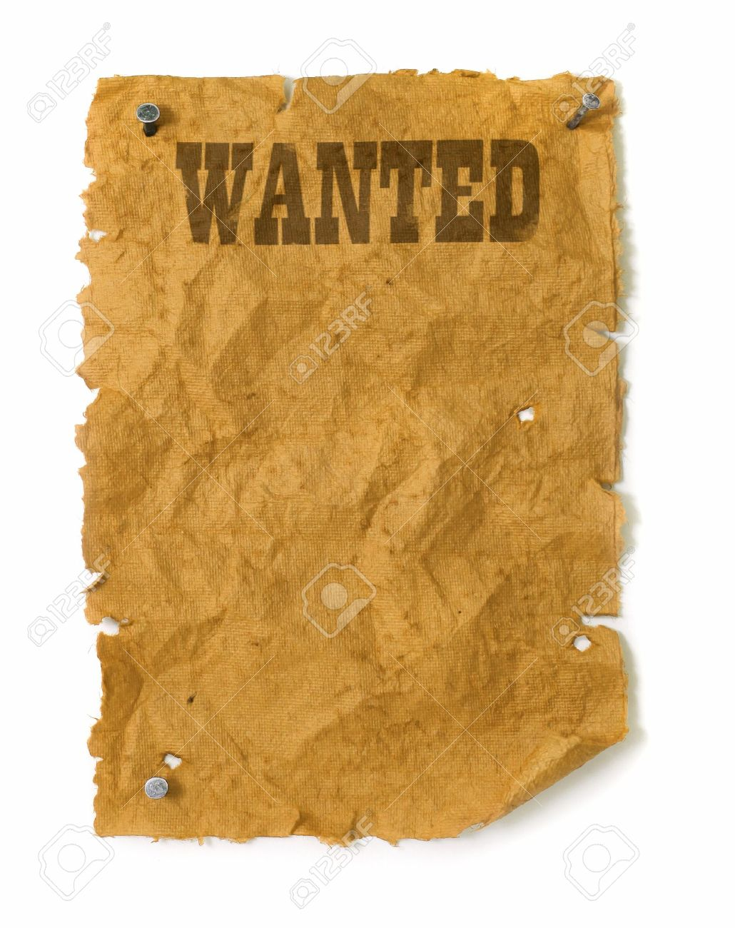 Wanted poster wild west style with nails, torn edges and bullet holes Stock Photo - 8722227