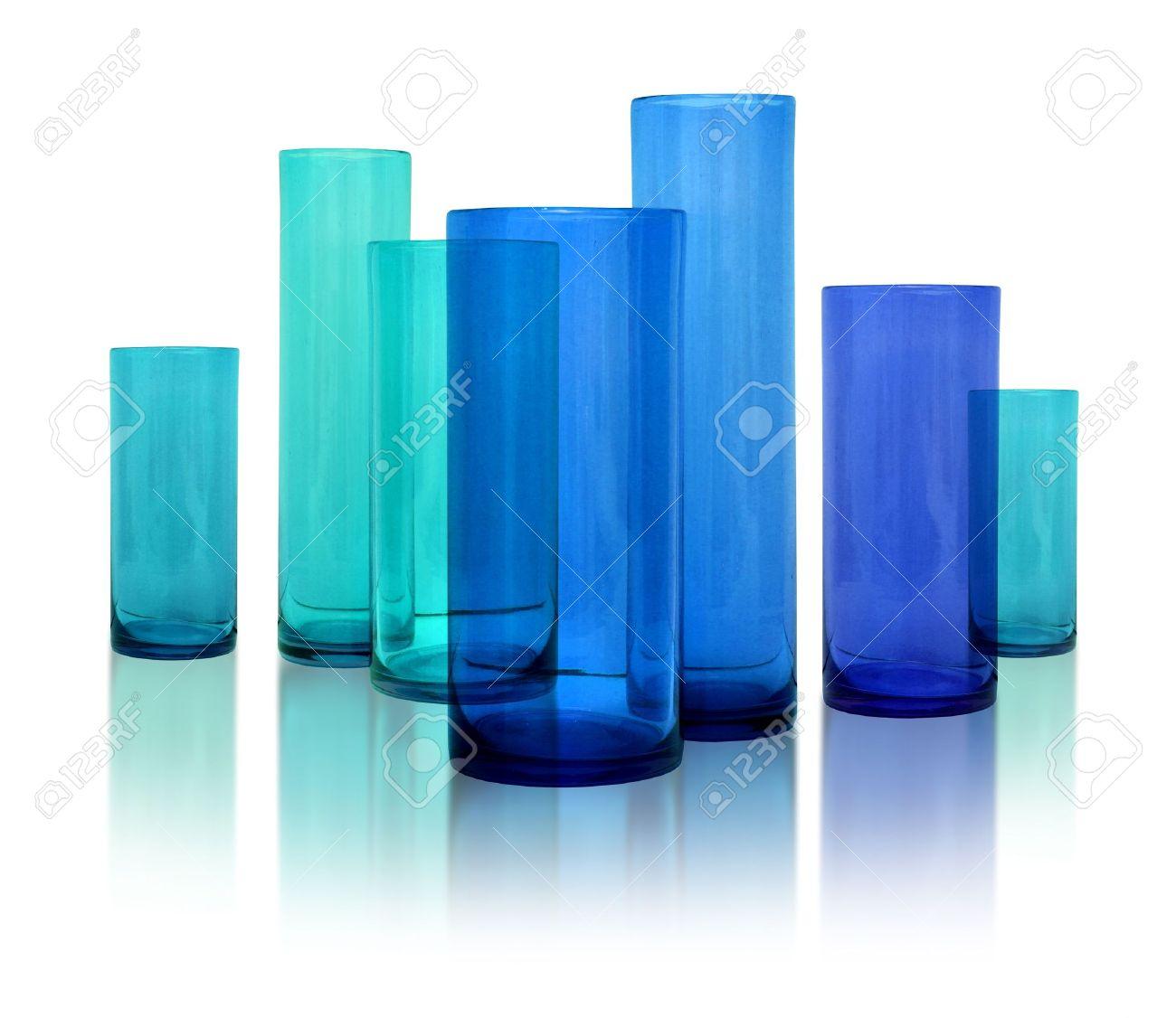 Modern Glass Vases Seven Modern Blue Glass Vases Row On White Reflective Background