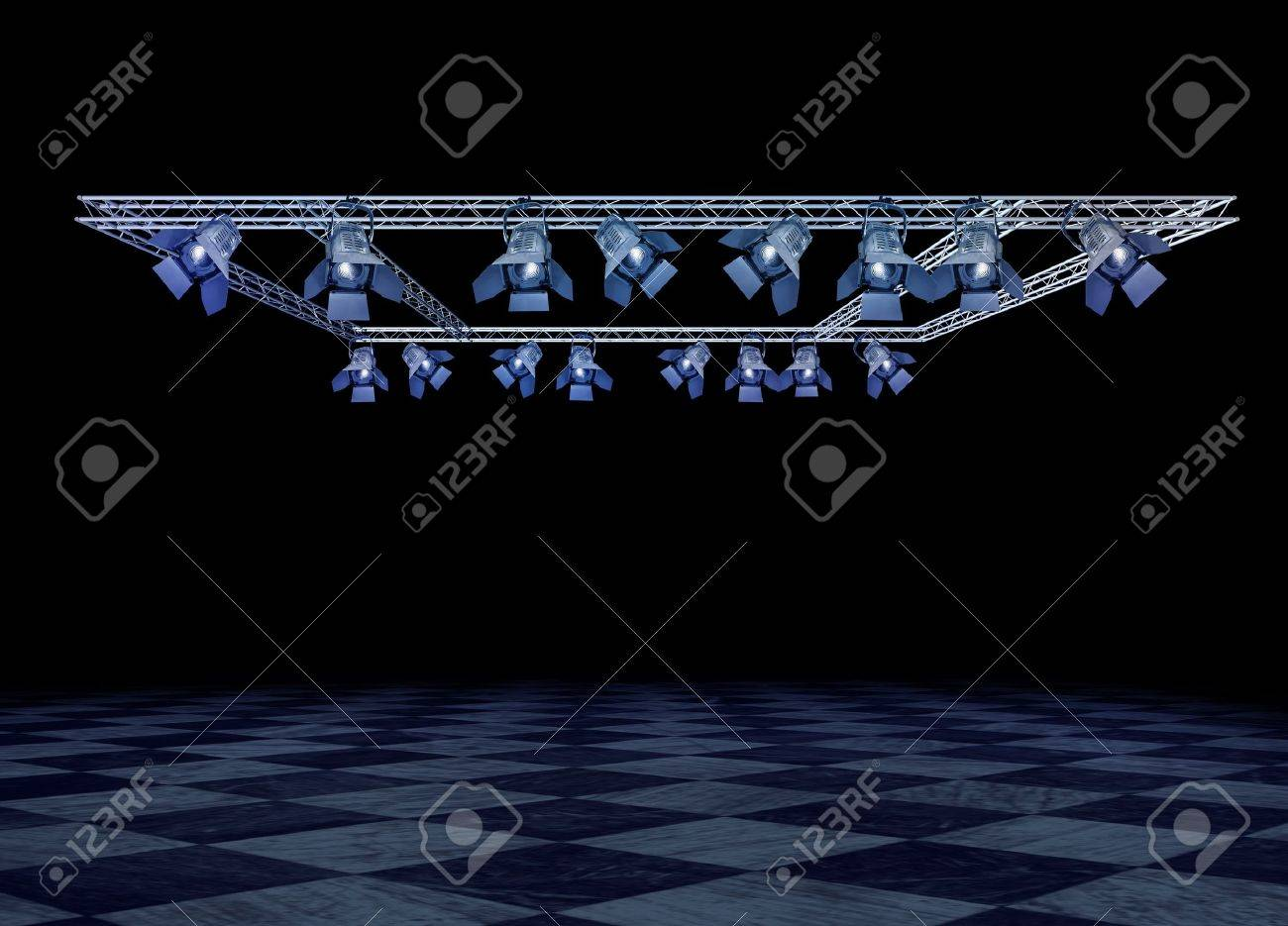 Rock stage lighting with professional spot lights and truss construction Stock Photo - 8842413
