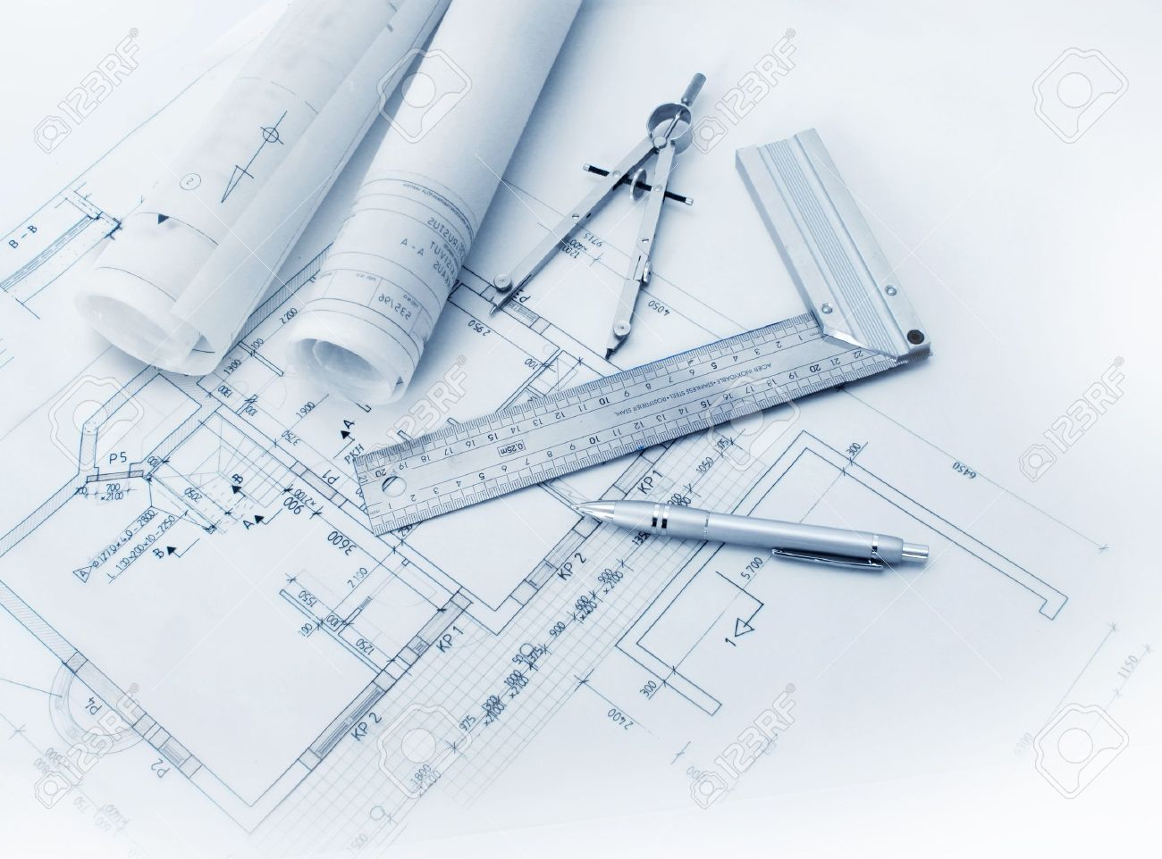 Construction plan tools and blueprint drawings stock photo 8952661