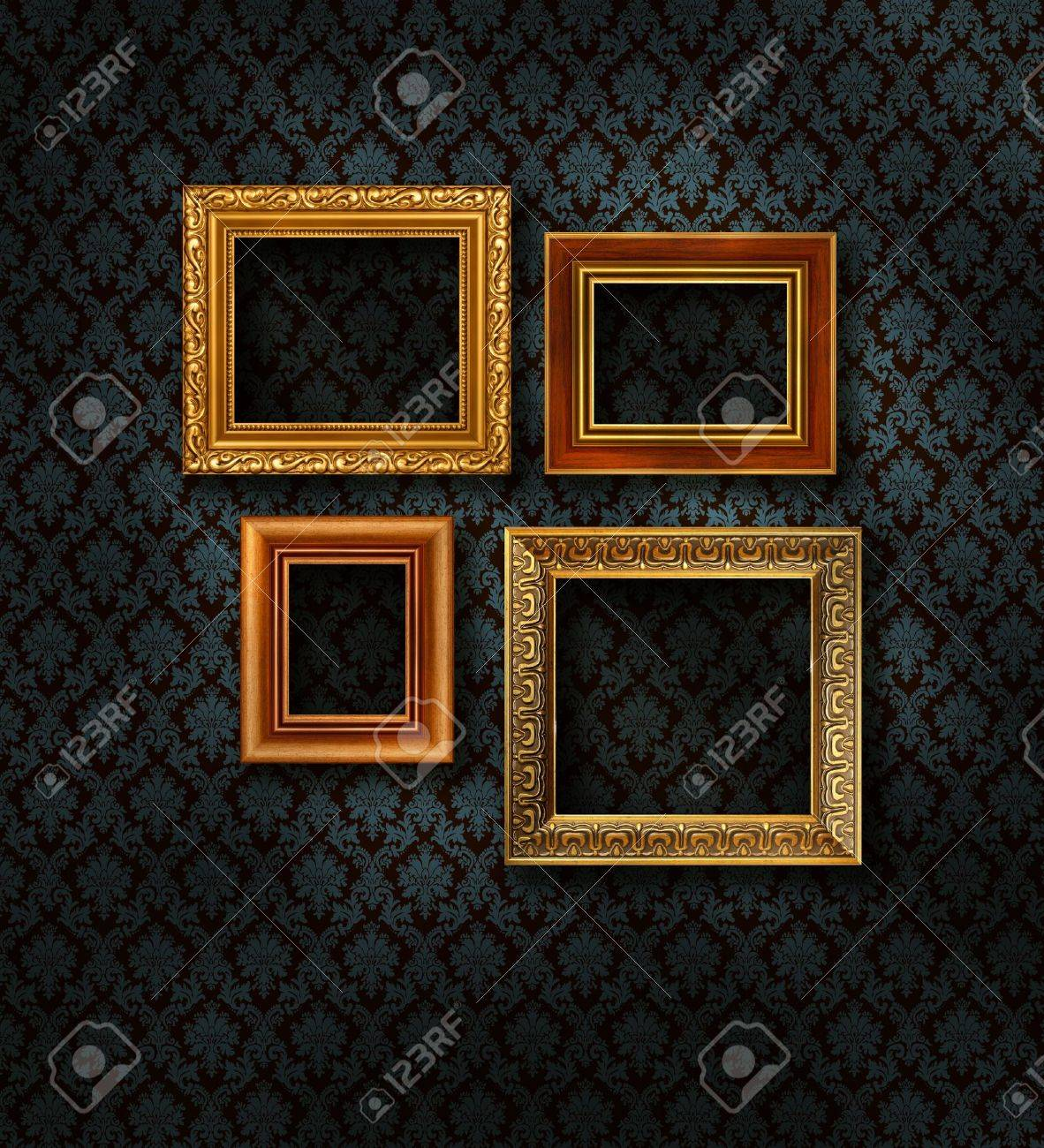 Four Gilded Frames On Dark Blue Damask Pattern Wall Paper Stock ...