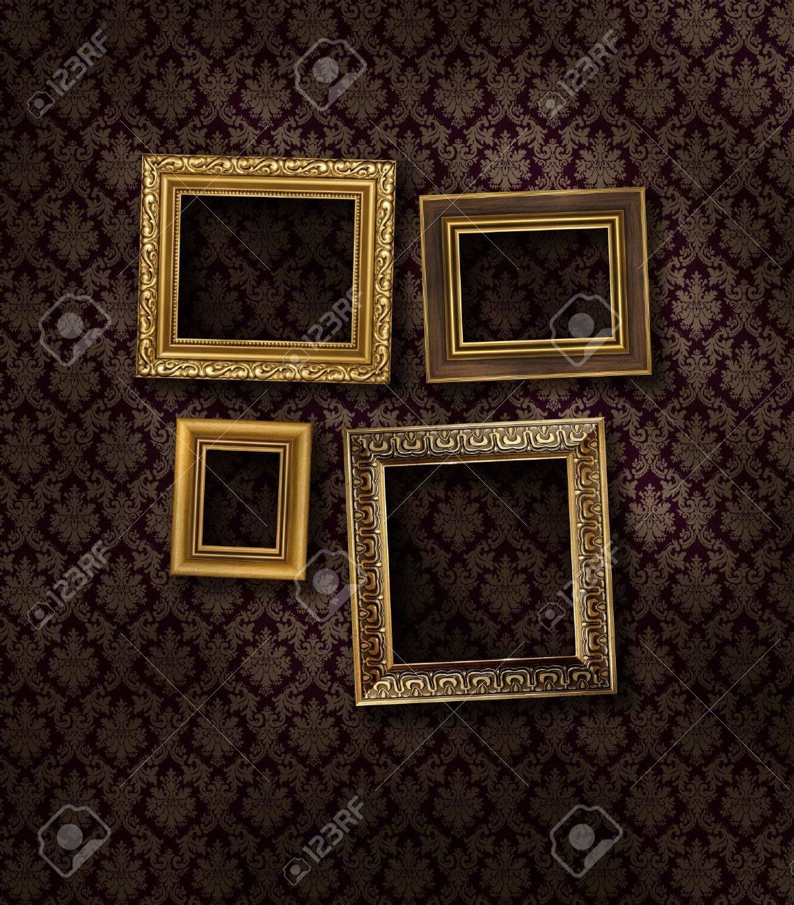 Slanted gilded frames on dark damask pattern wall paper stock slanted gilded frames on dark damask pattern wall paper stock photo 9092511 jeuxipadfo Gallery