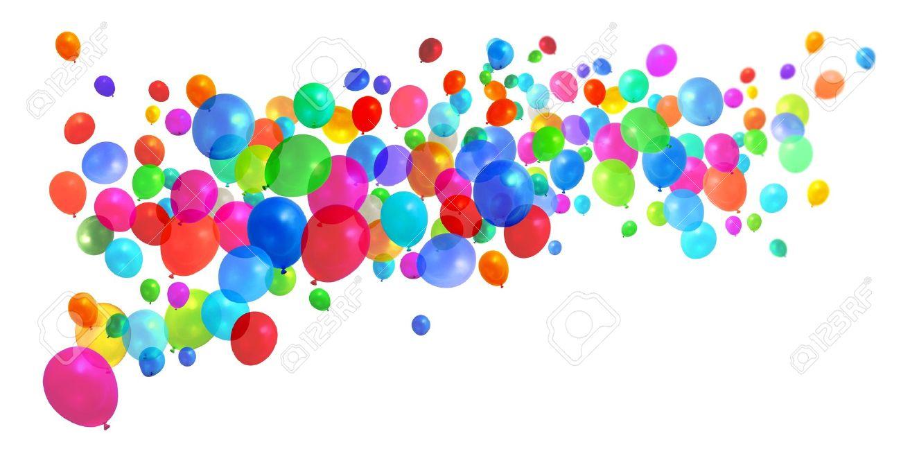 Viele Bunte Geburtstag Party Ballons Fliegen Auf Weissem Hintergrund