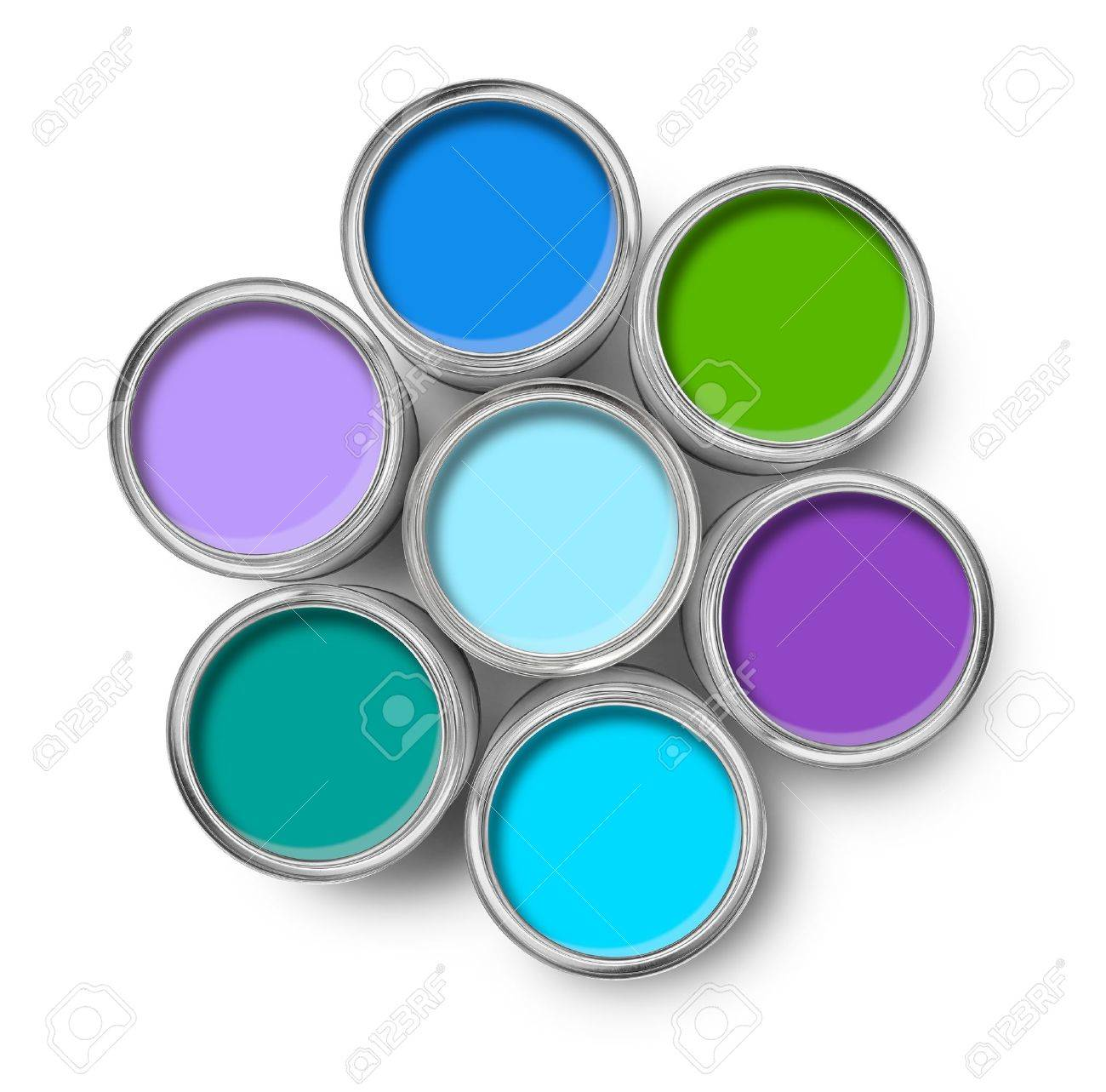 Cool Paint Colors cool colors paint tin cans opened top view isolated on white stock