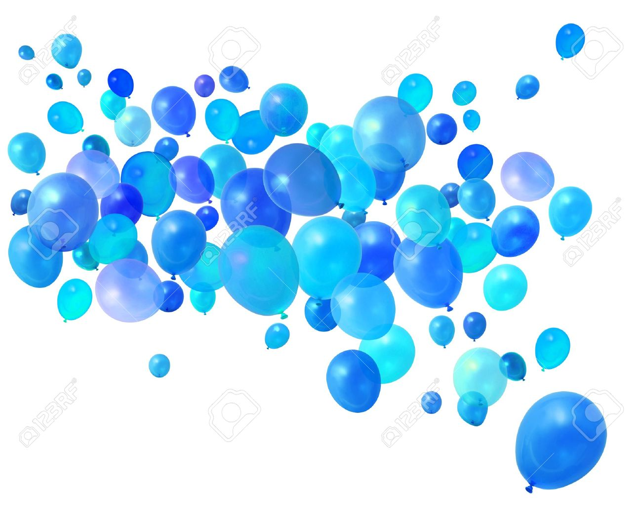 Blue Birthday Party Balloons Flying On White Background Stock Photo