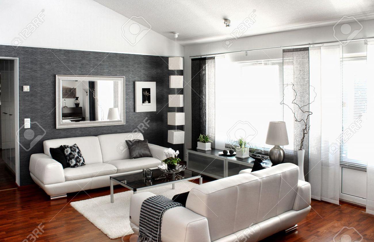 Modernt vardagsrum inredning möbler och inredning royalty fria ...