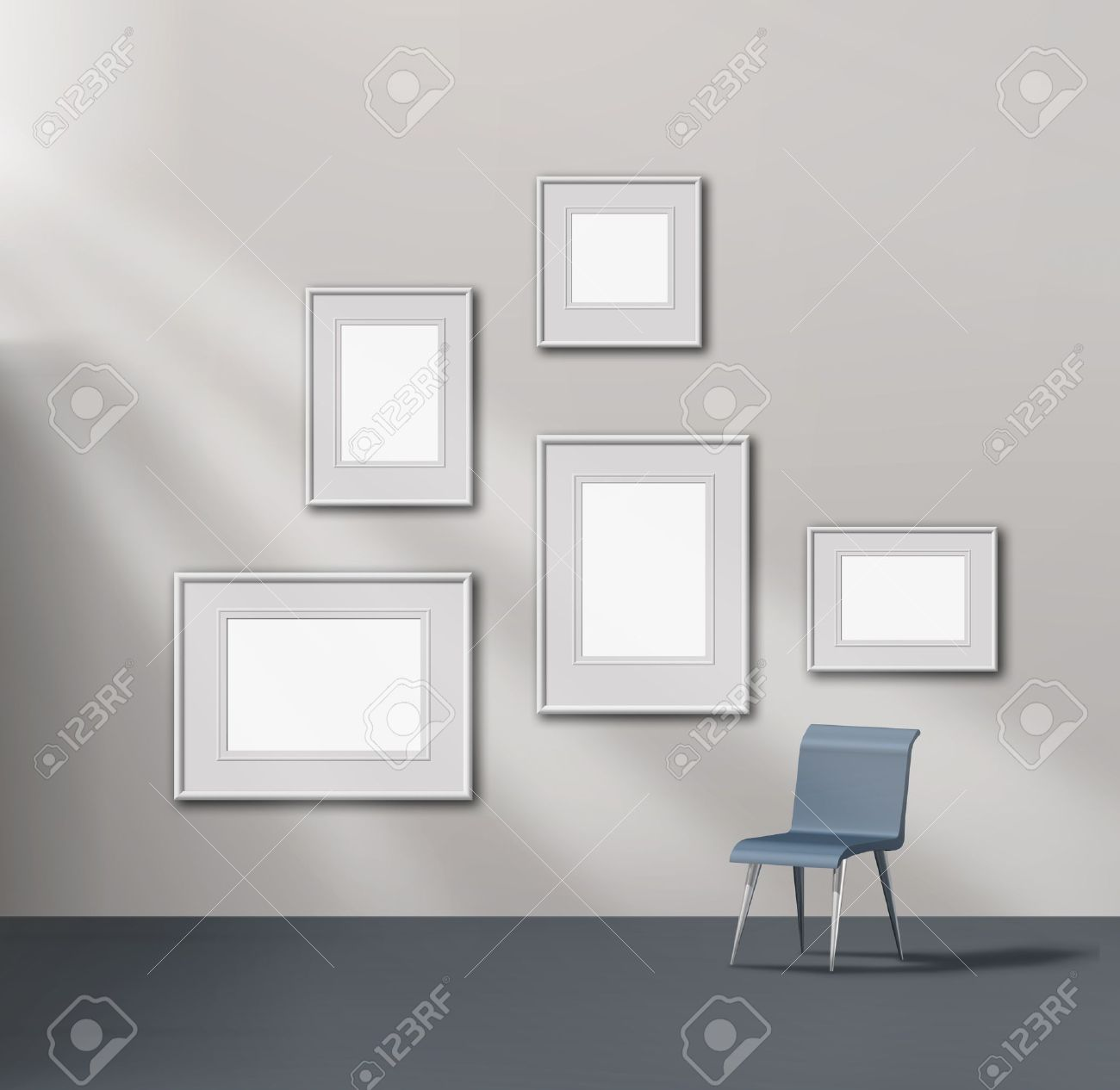 Picture Gallery Exhibition Space Empty Frames Collection Stock Photo ...