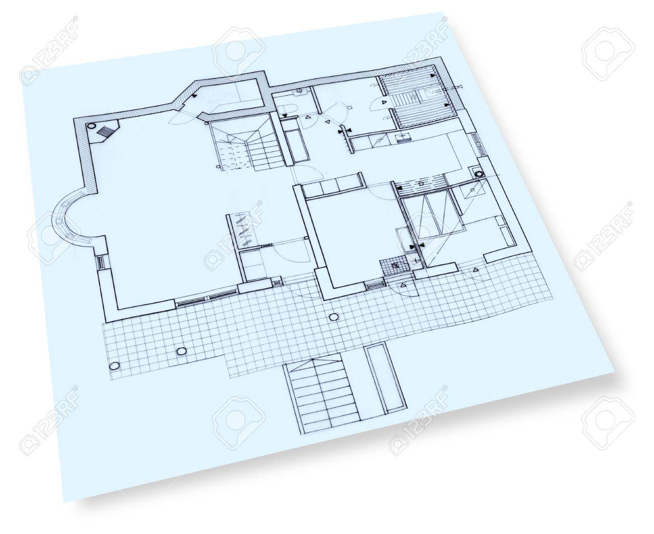 Individual house construction drawings blueprint stock photo individual house construction drawings blueprint stock photo 13995079 malvernweather Gallery