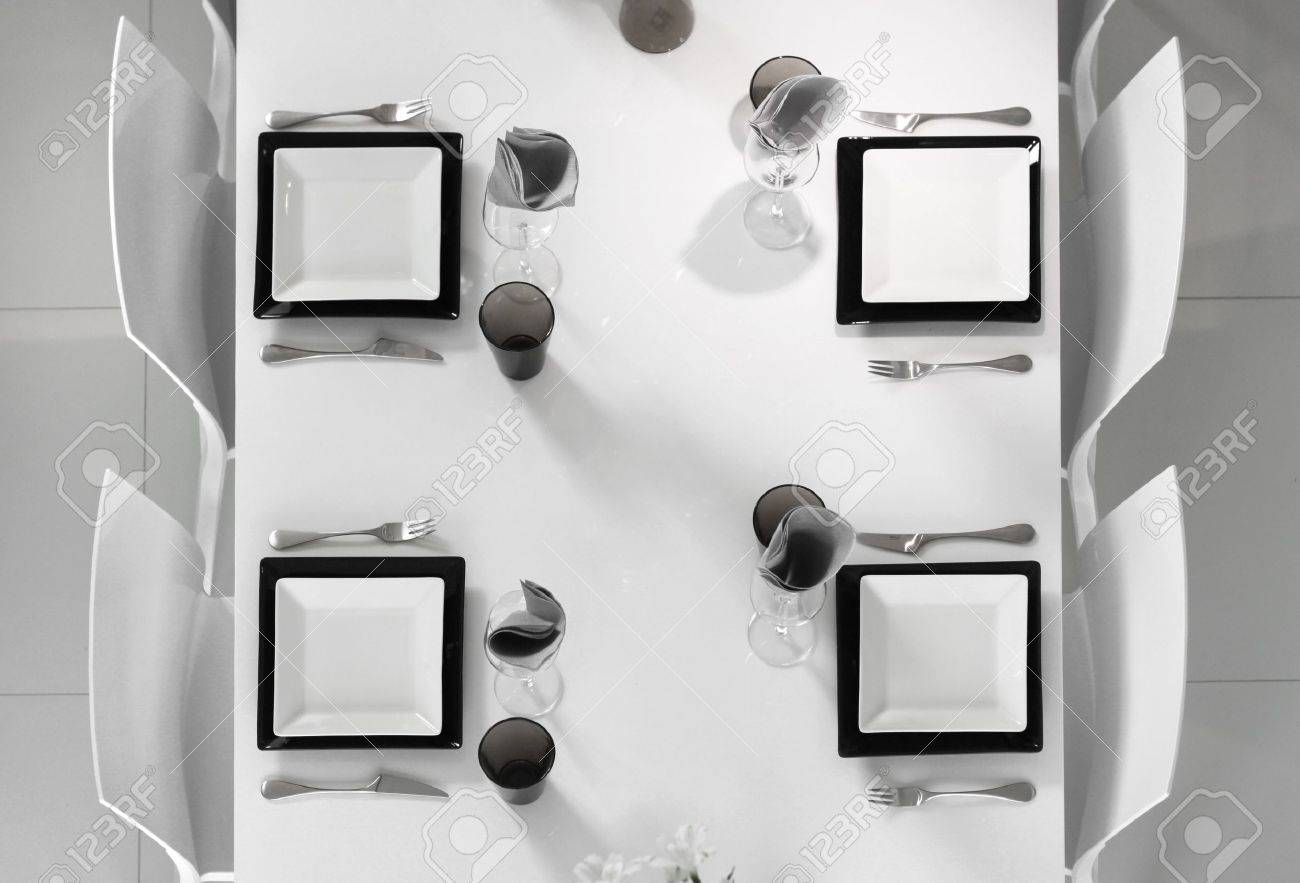 Black and white dining table - Modern Black And White Dining Table Setting Seen Above Stock Photo 14576664