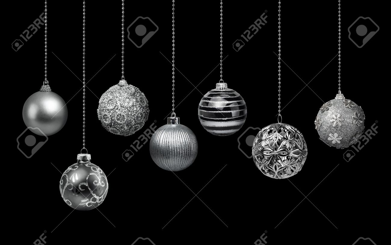 Seven Silver Decoration Christmas Balls Collection Hanging Black