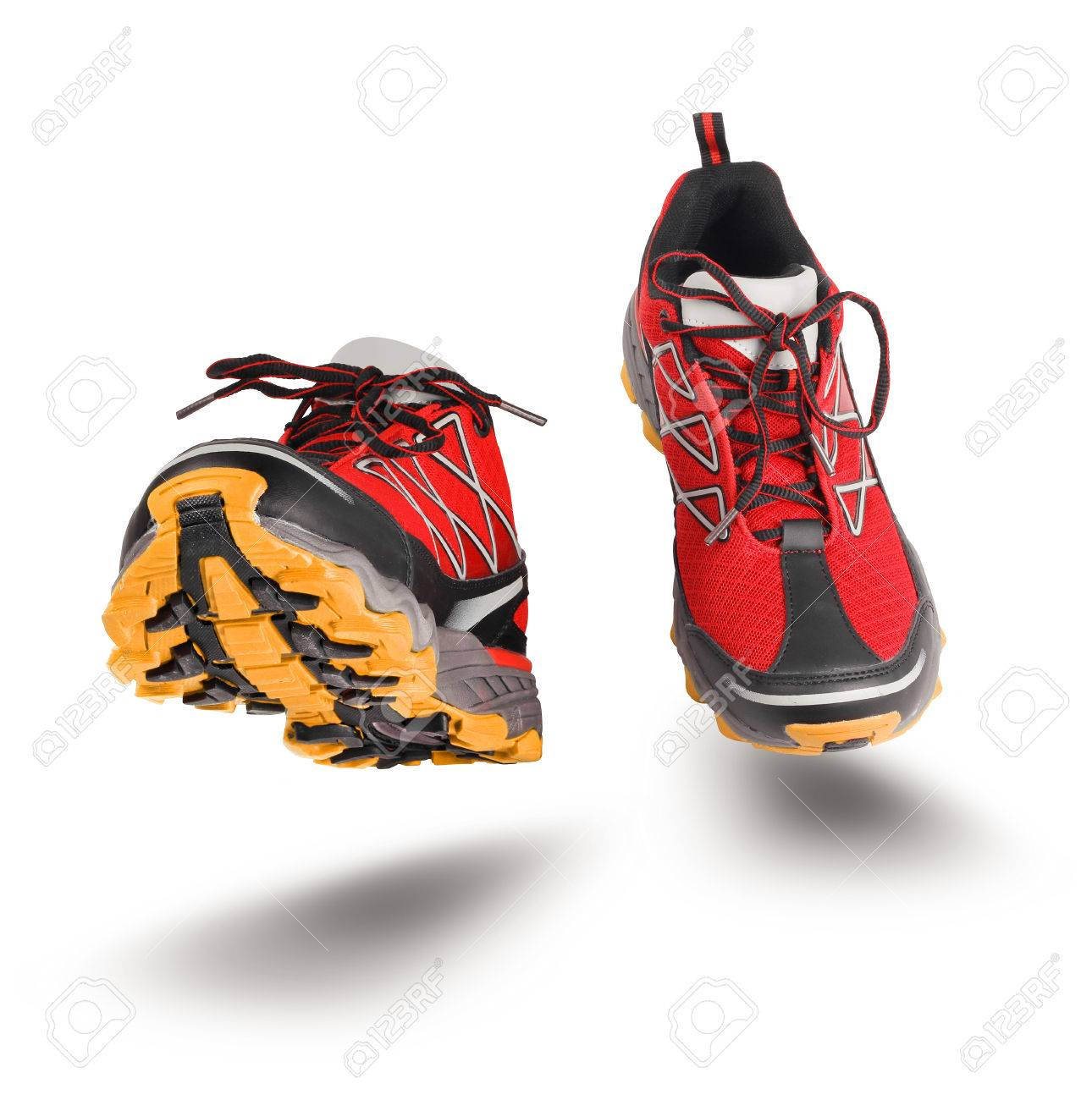 White Red Seen FrontIsolated Shoes Sport On Background Running 54RjLA