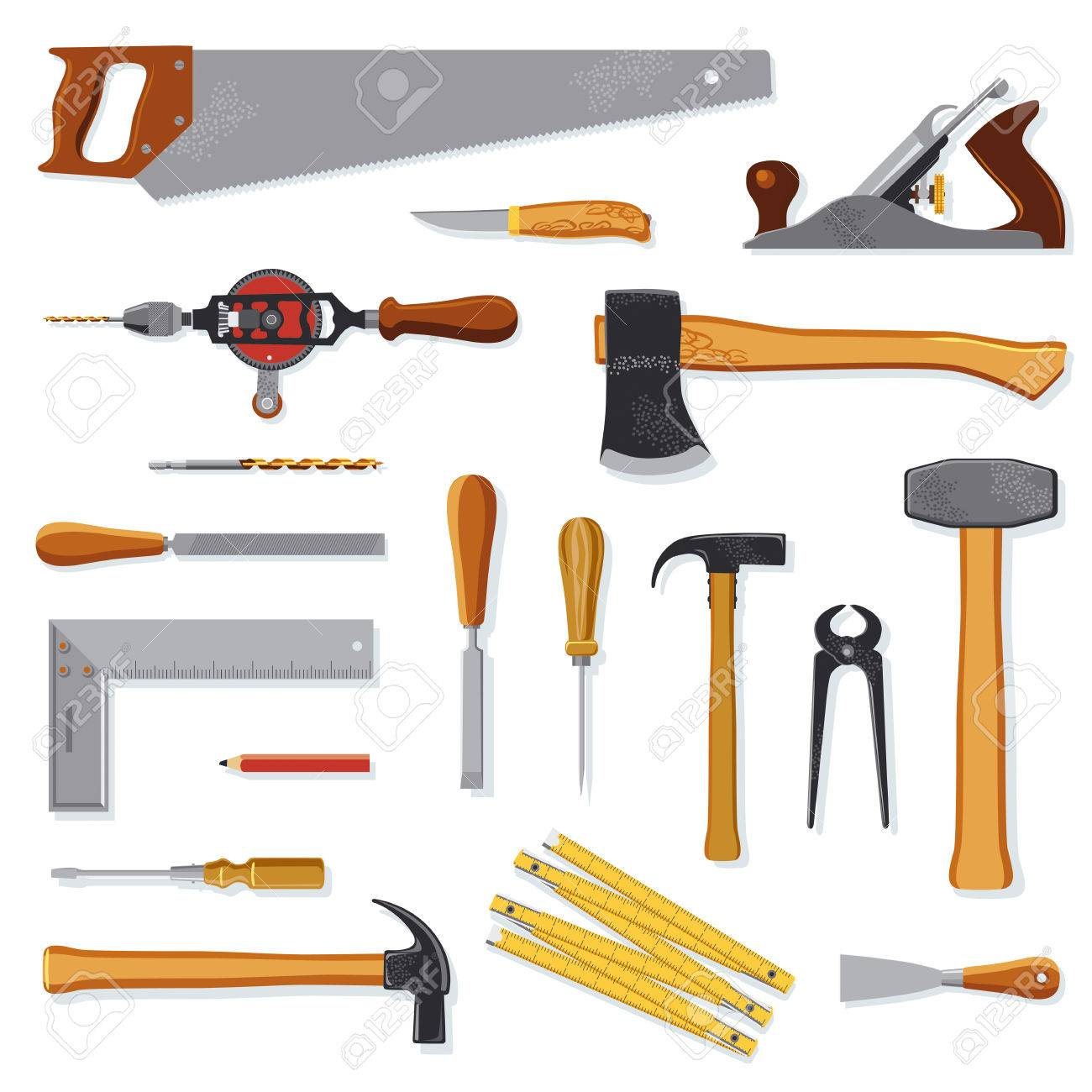 old carpenter tools collection isolated on white royalty free