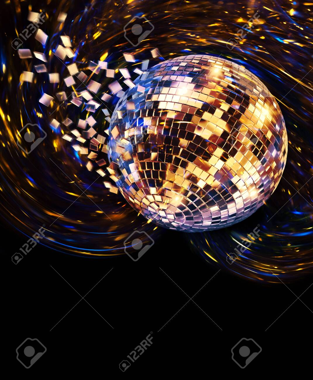 Vintage Disco Mirror Ball Spinning And Breaking Into Blue And Stock Photo Picture And Royalty Free Image Image 142652245