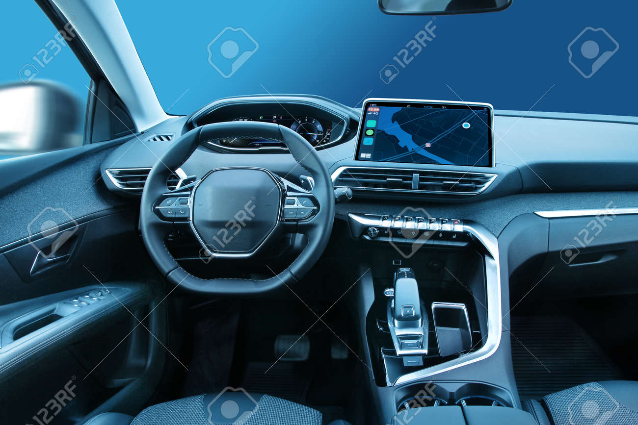 Modern family car or SUV vehicle cabin interior with stylish design and large led displays - 149828482