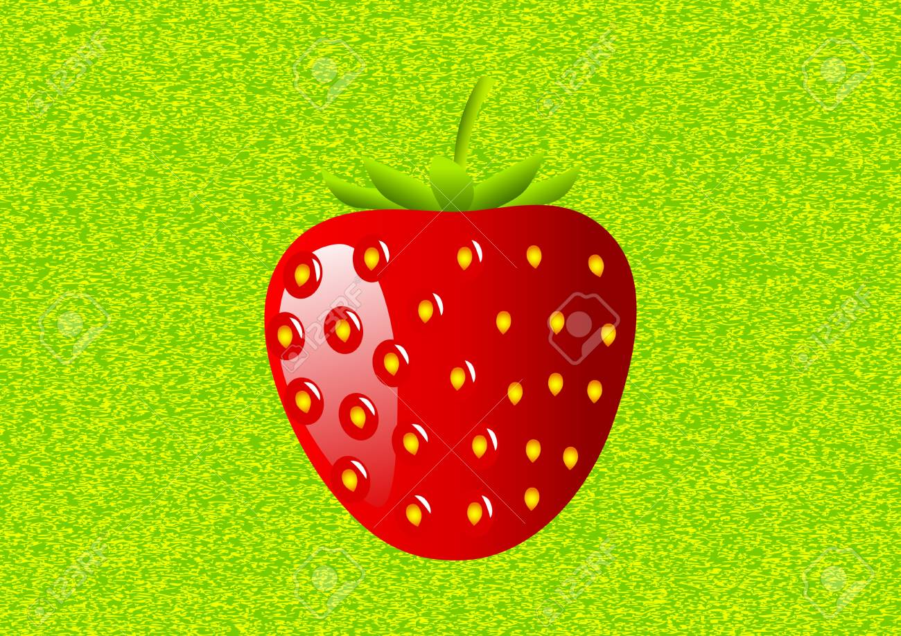 Strawberry on a green background Stock Vector - 11485887