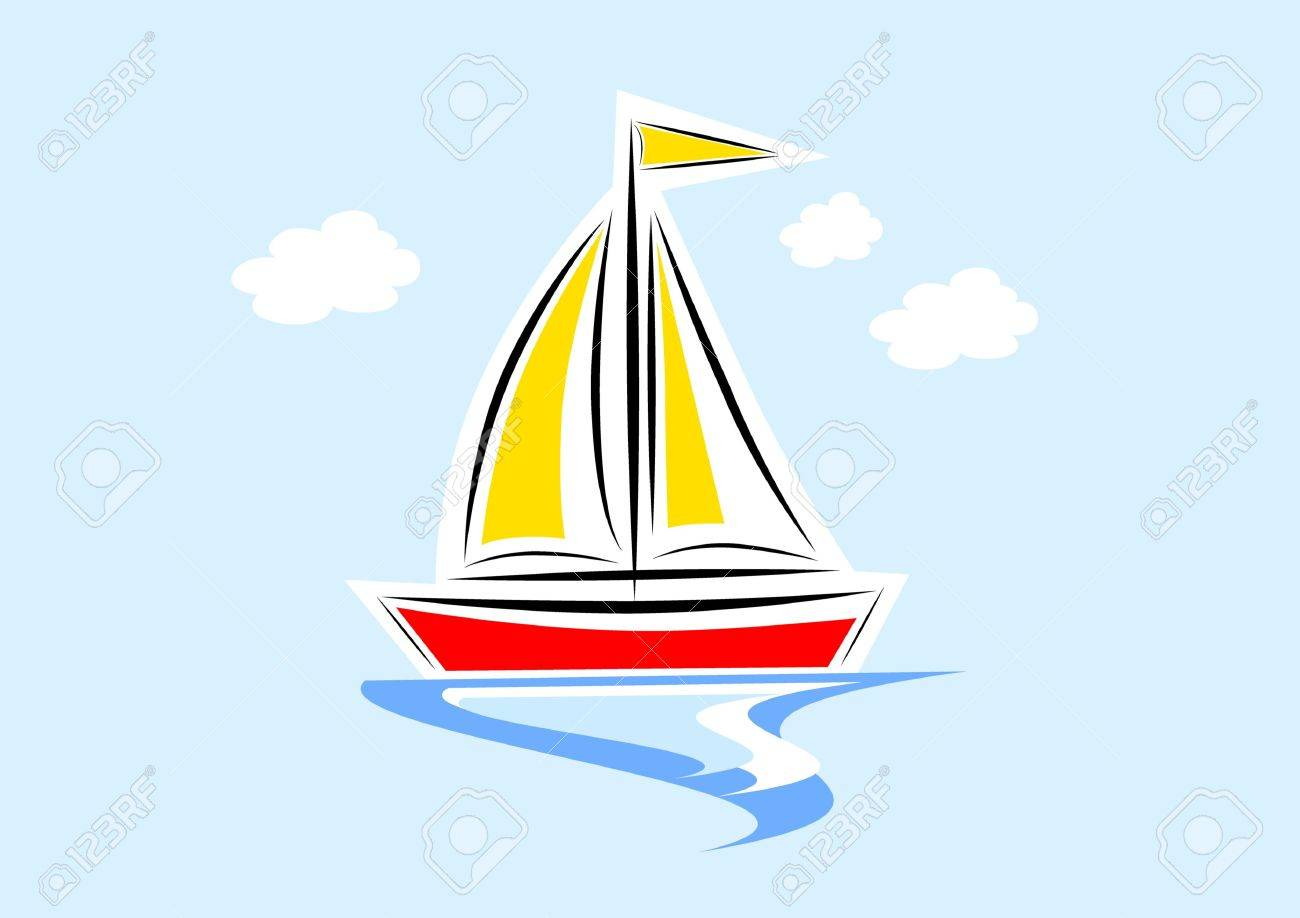 Clip Art Of Sailboat Stock Vector