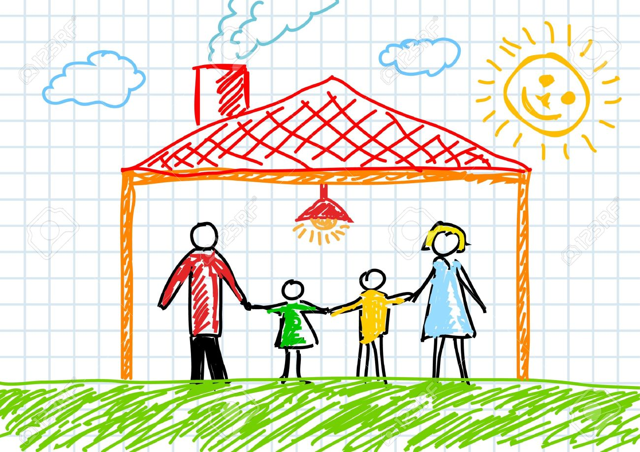Drawing Of Family In House Royalty Free Cliparts Vectors And Stock Illustration Image 11914521