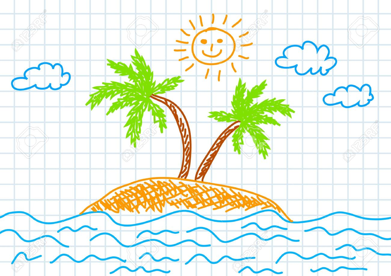 Drawing of island Stock Vector - 12018644