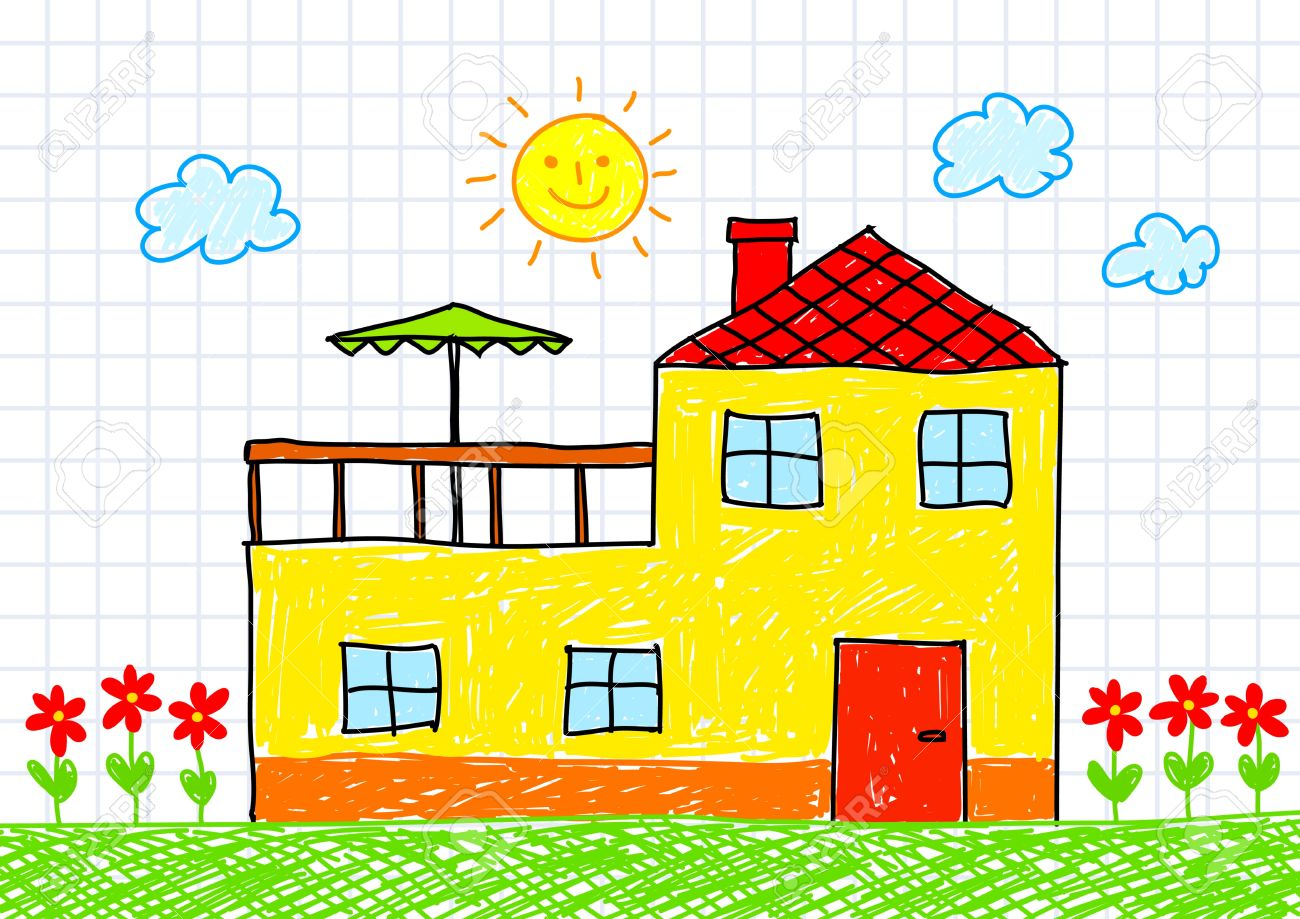 Drawing of yellow house Stock Vector - 12063092
