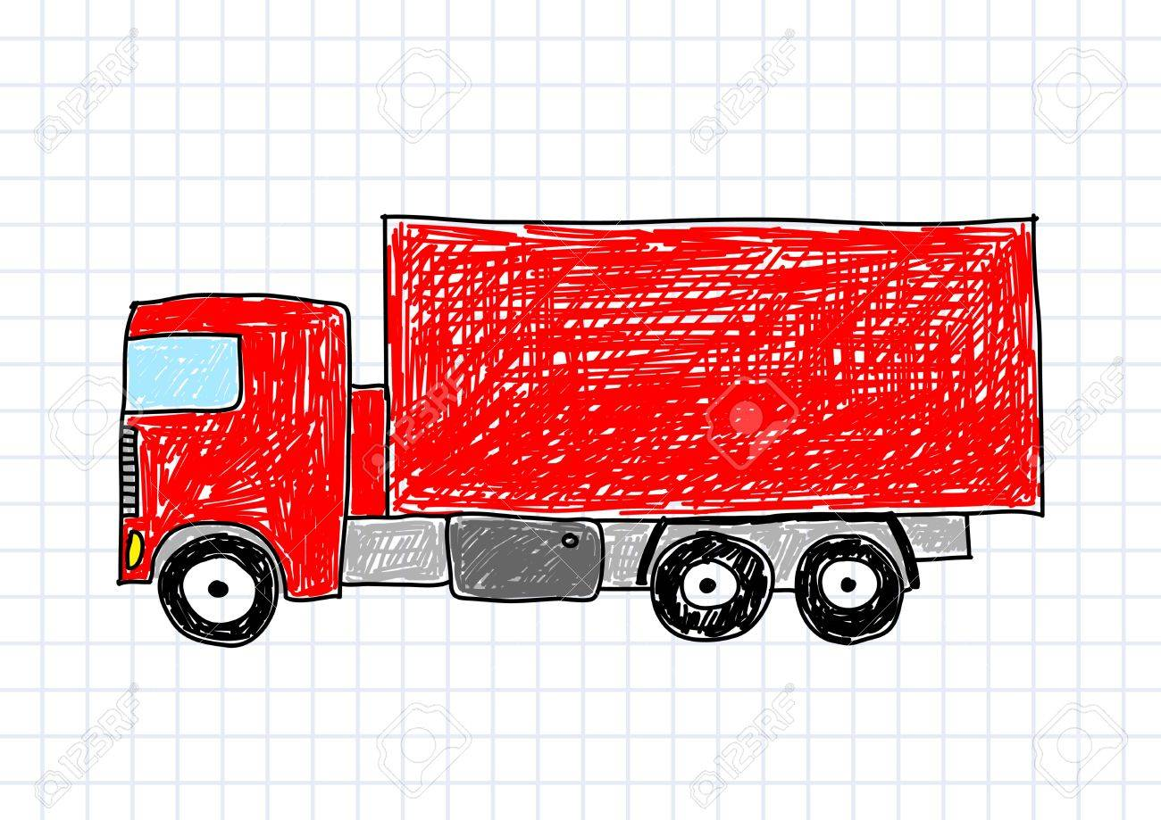 Drawing of red truck Stock Vector - 12063076
