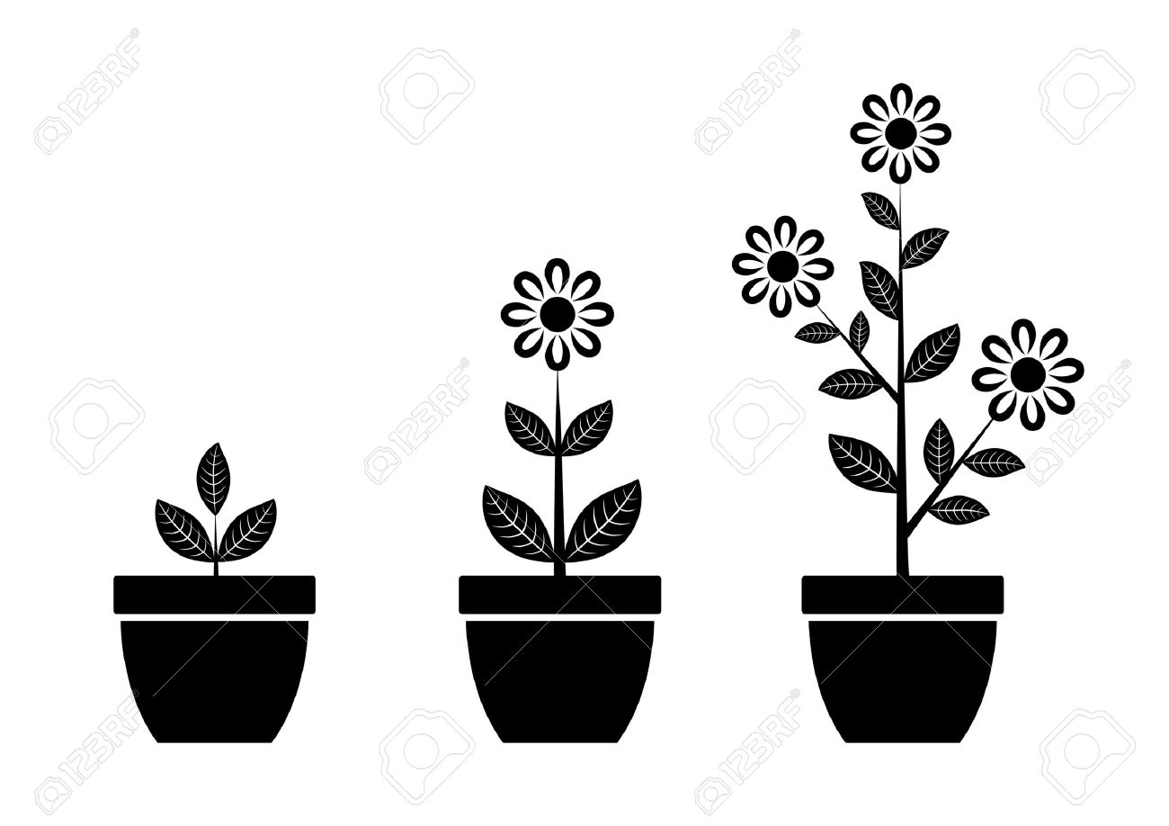 Black and white flower pots - Black Flower Icon Stock Vector 12892275