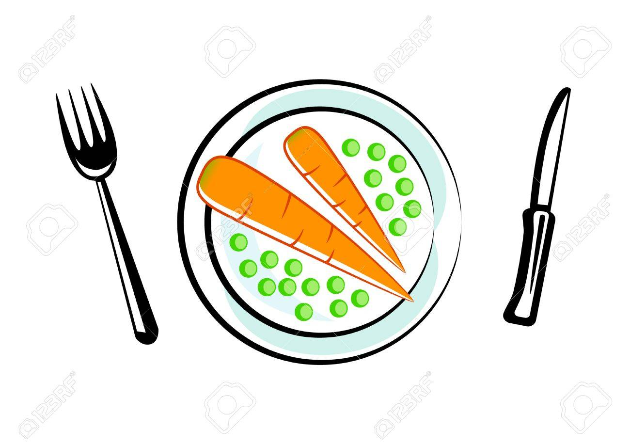 carrot with peas on porcelain plate royalty free cliparts vectors rh 123rf com