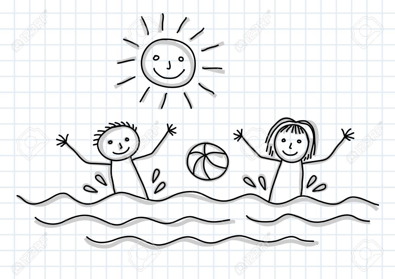 Drawing of children Stock Vector - 13297378