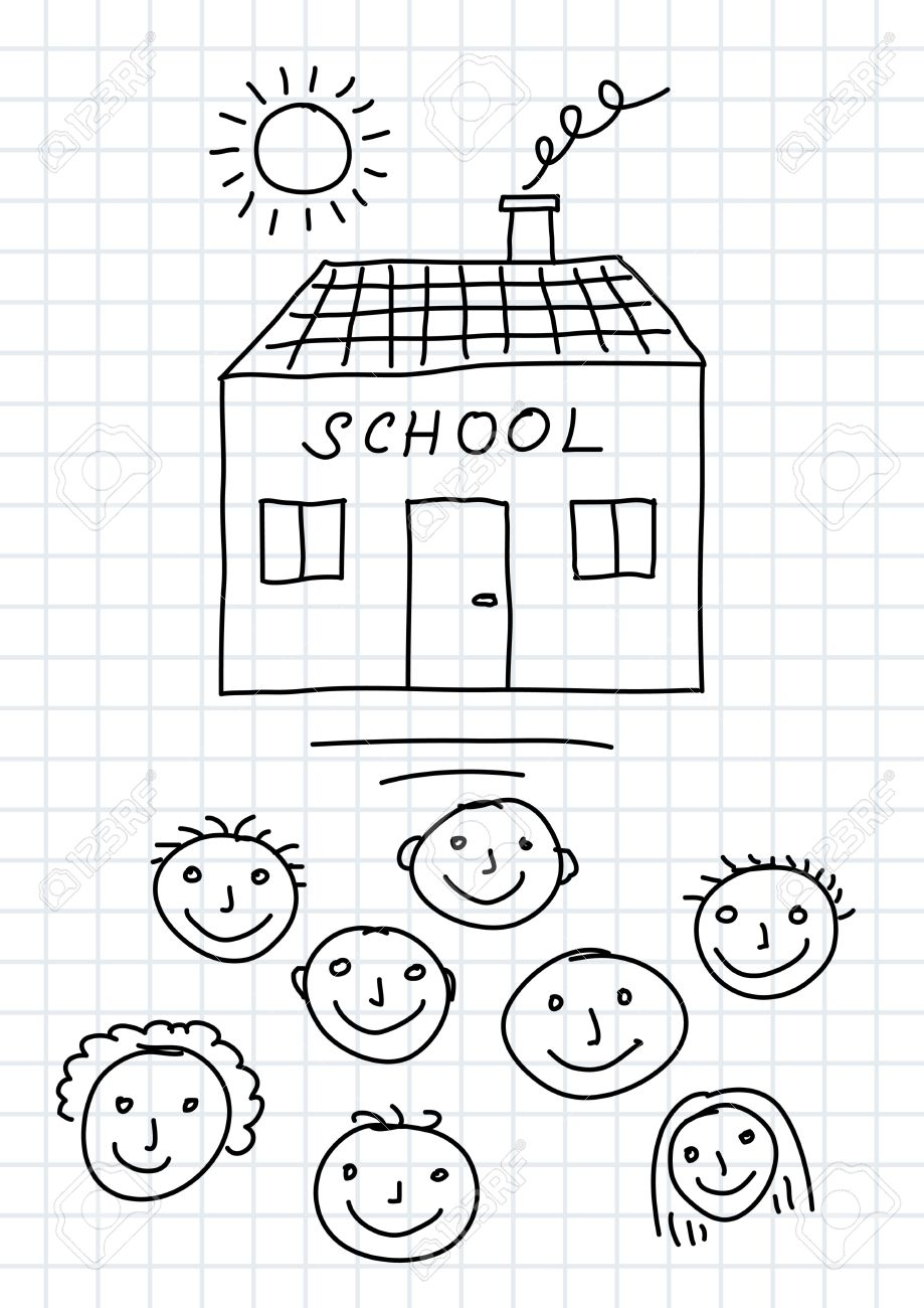 Drawing of school and children on squared paper Stock Vector - 13514879
