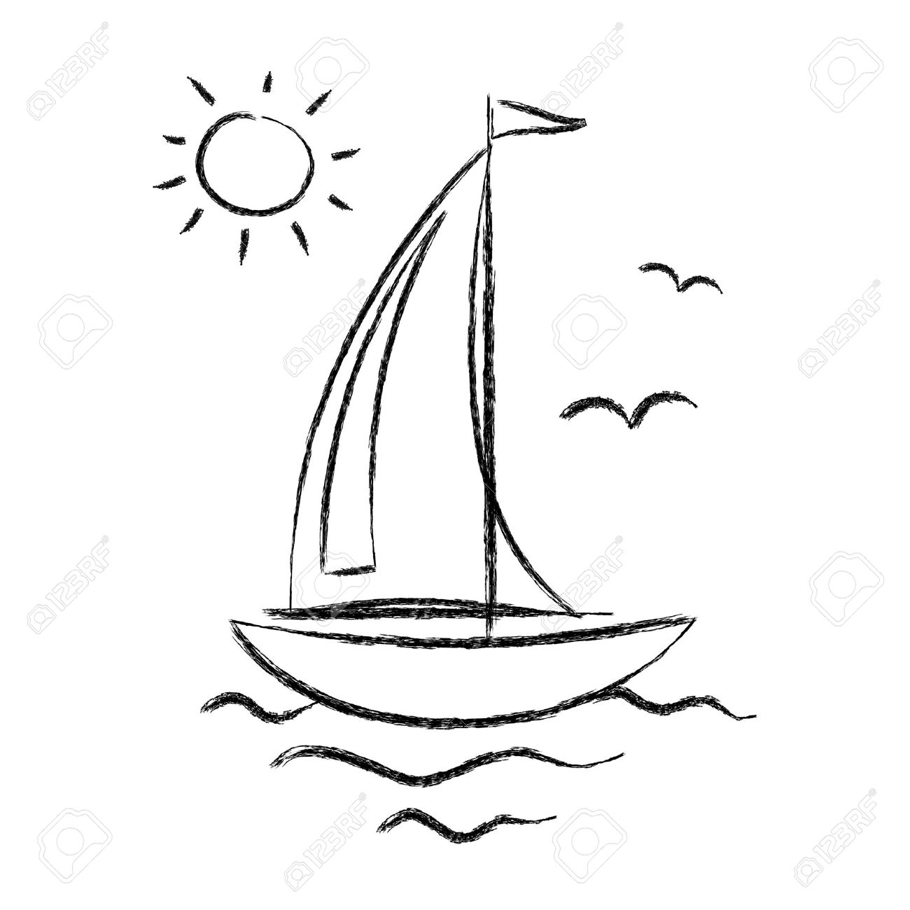 Sailing Boat Cartoon Cartoon Man Sail