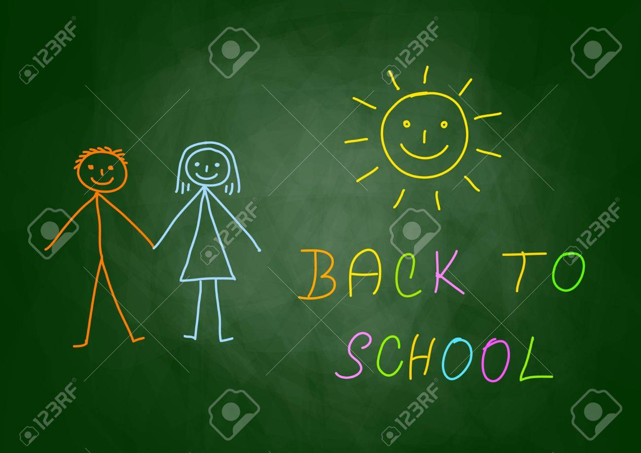 Drawing of children on blackboard Stock Vector - 14533351