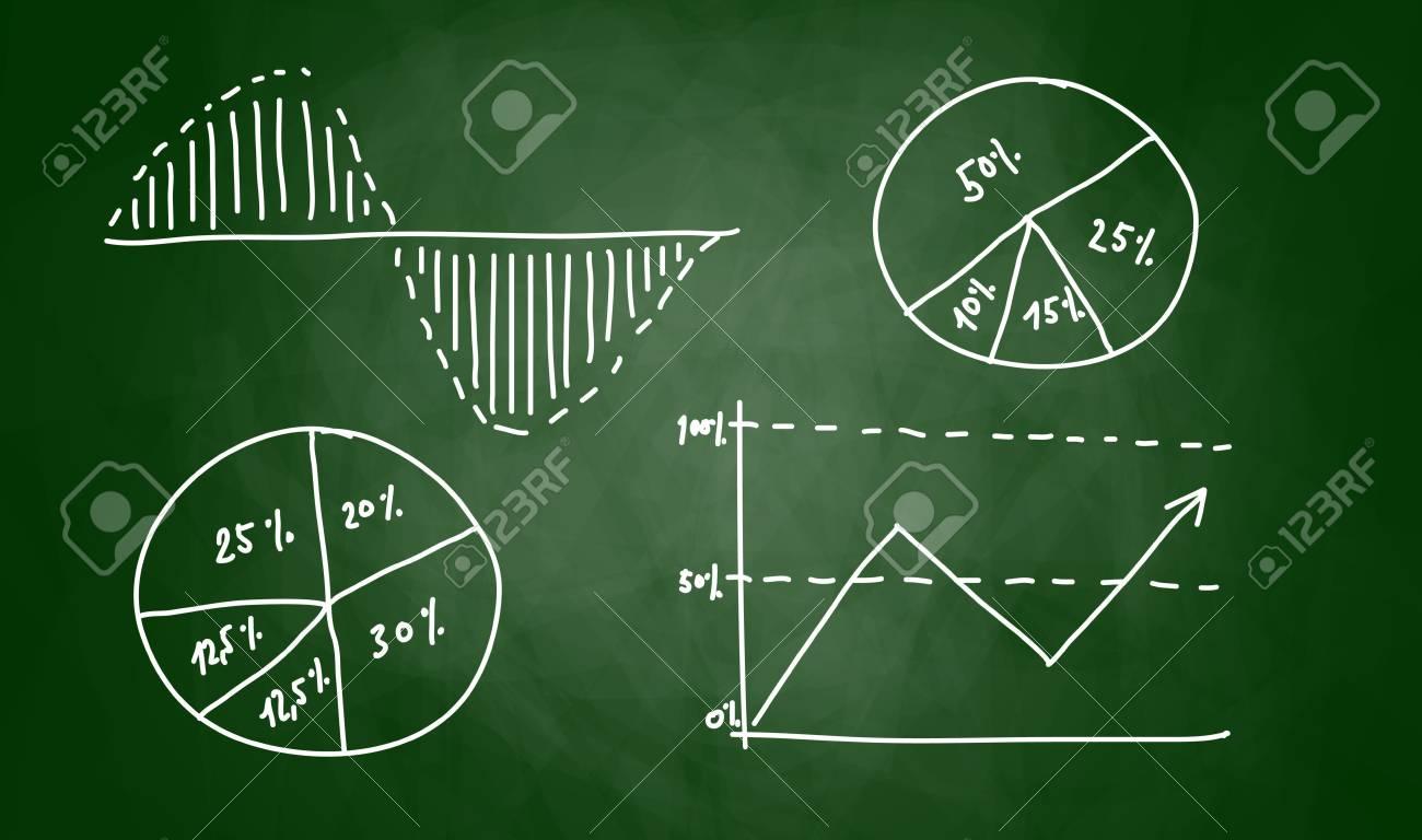 Drawing of graph on blackboard - 14626742