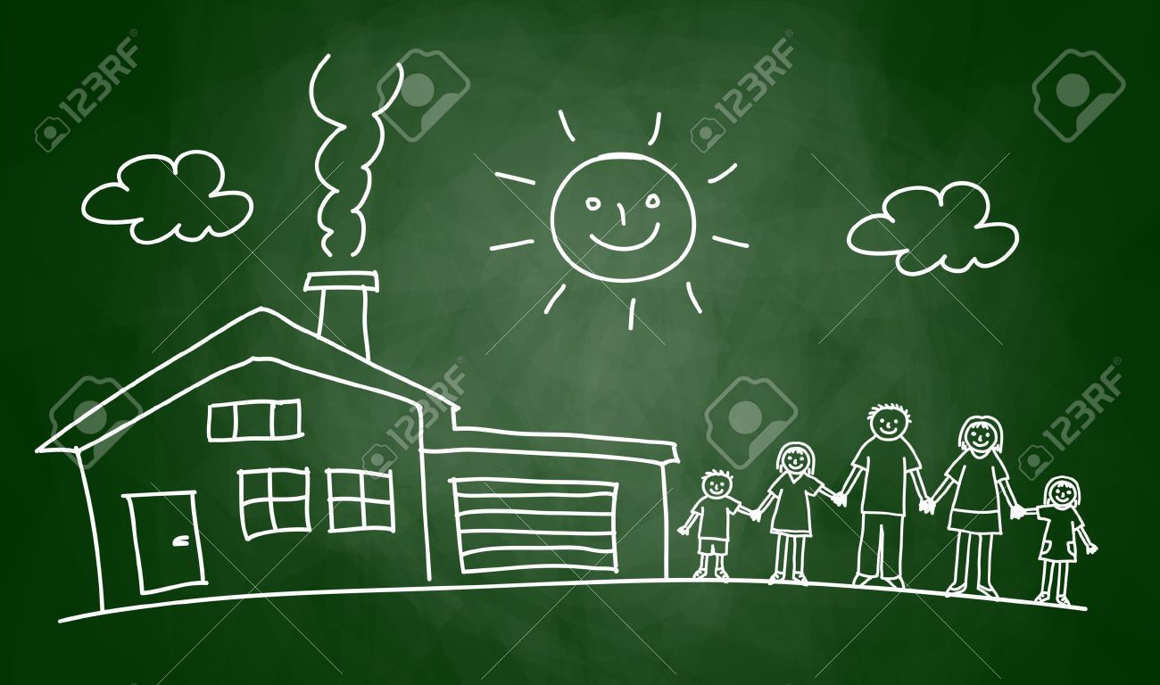 Drawing of house and family on blackboard Stock Vector - 14873273