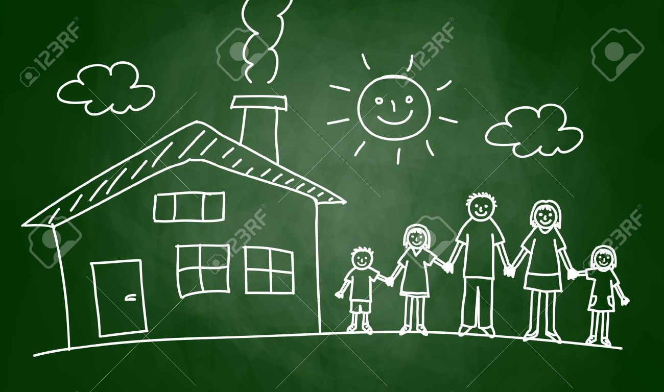 Drawing of house and family on blackboard Stock Vector - 14873275