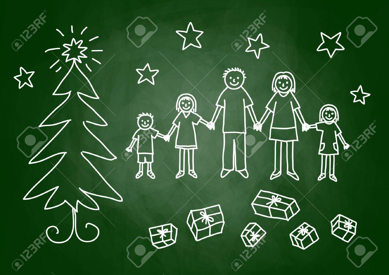 Christmas drawing on blackboard Stock Vector - 15274651