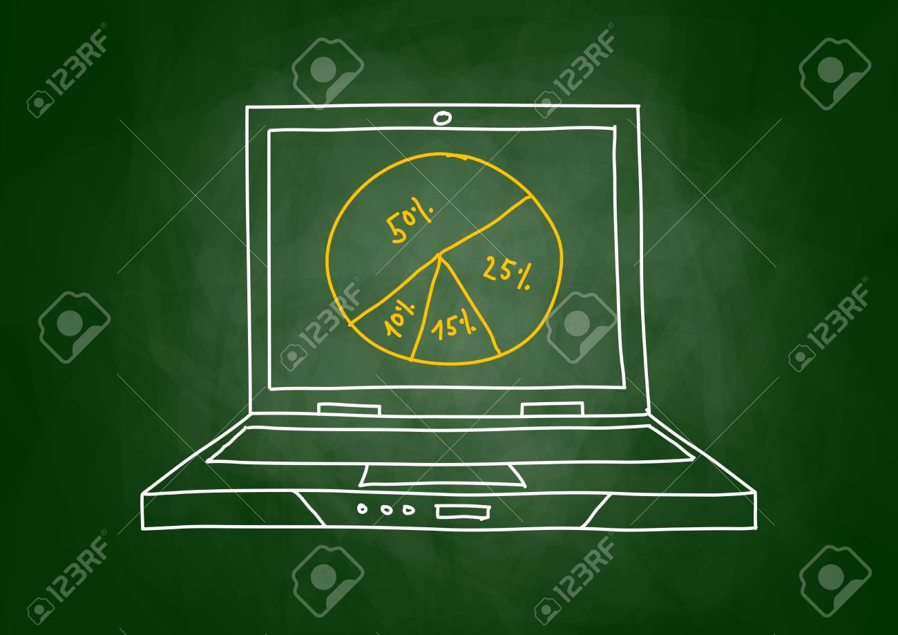 Drawing of laptop on blackboard Stock Vector - 15353178