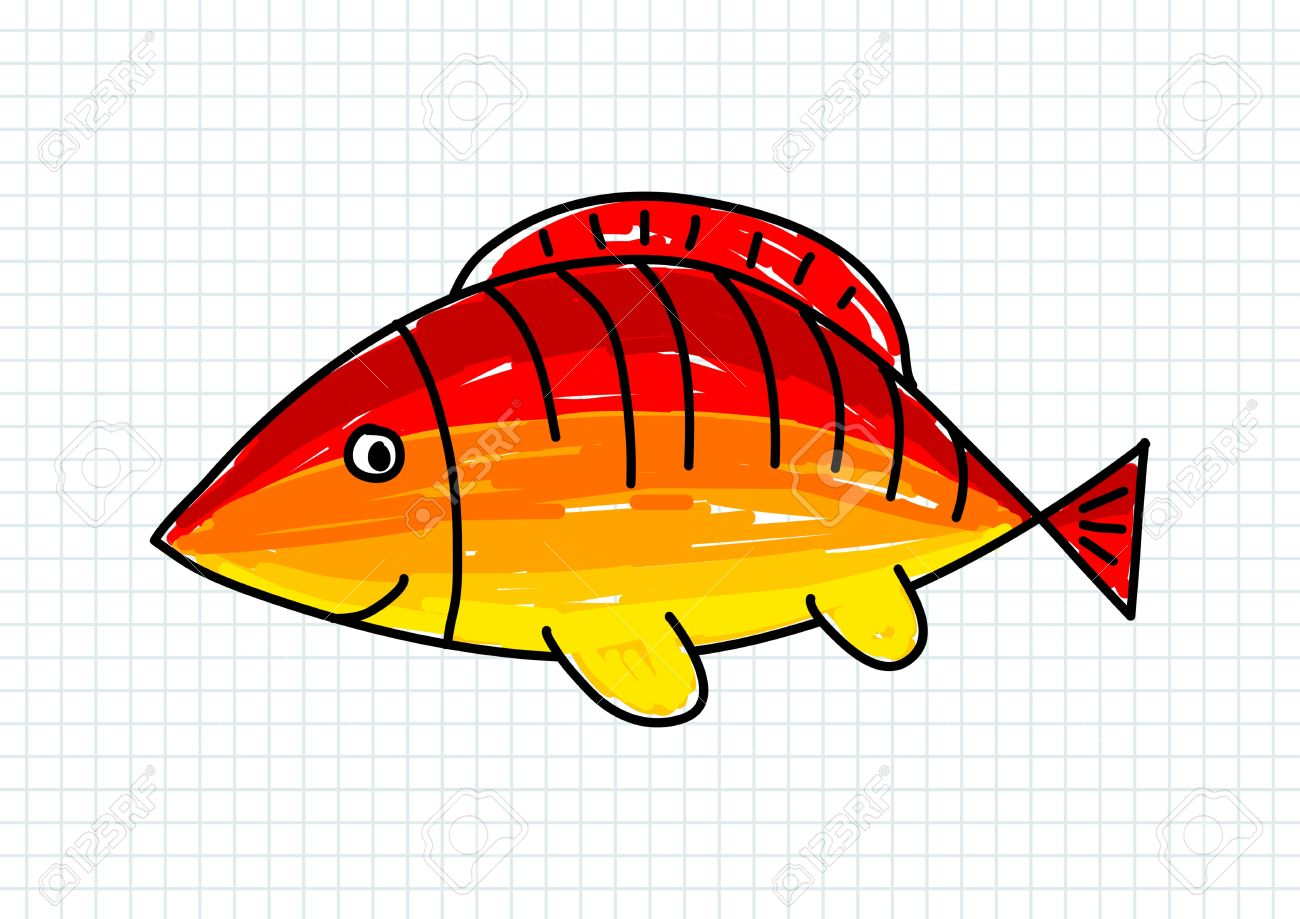 Drawing Of Fish On Squared Paper Royalty Free Cliparts, Vectors, And ...
