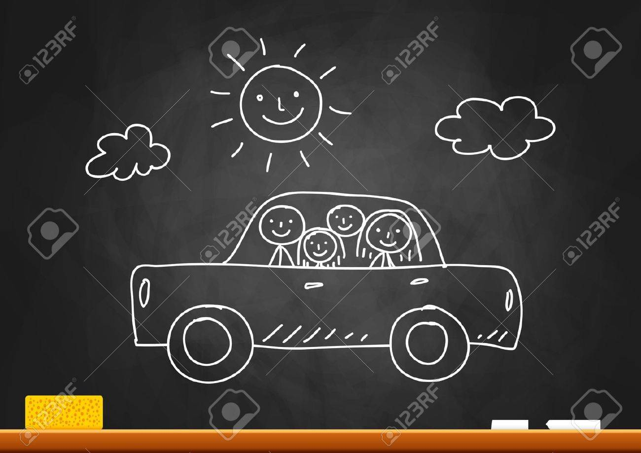 Drawing of car with family on blackboard Stock Vector - 16326640