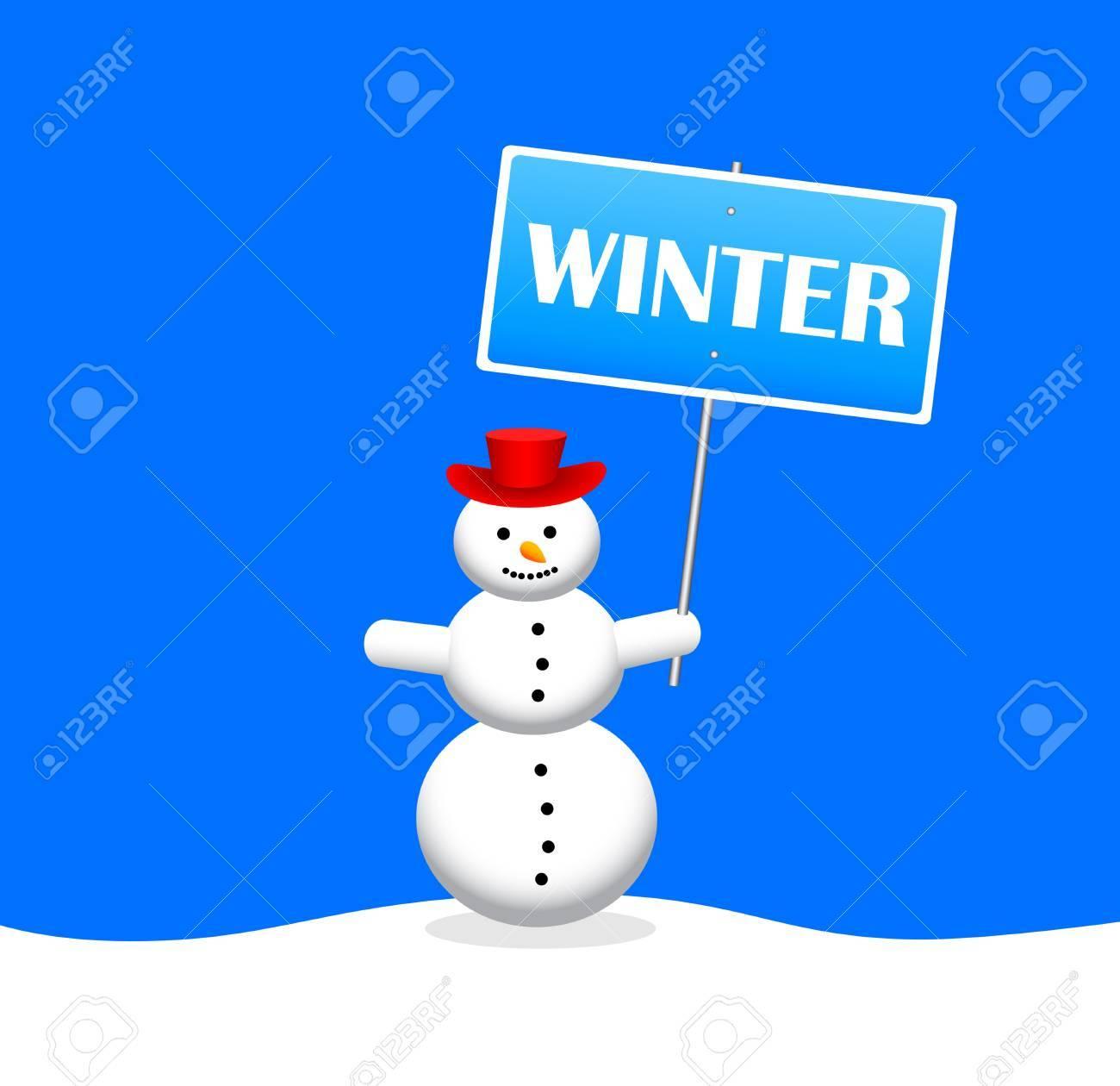 Snowman with slogan banner Stock Vector - 16576384