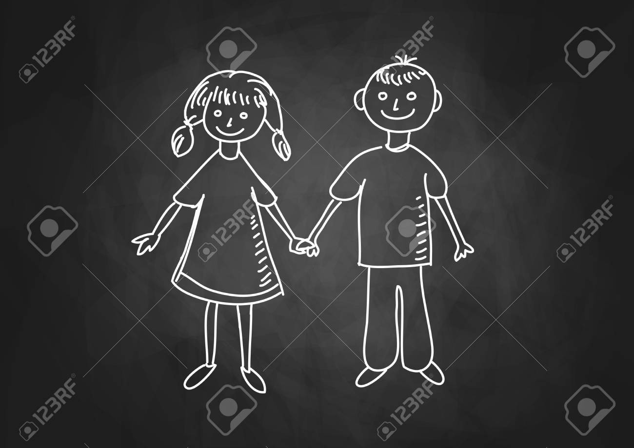 Drawing of children on blackboard Stock Vector - 17740492