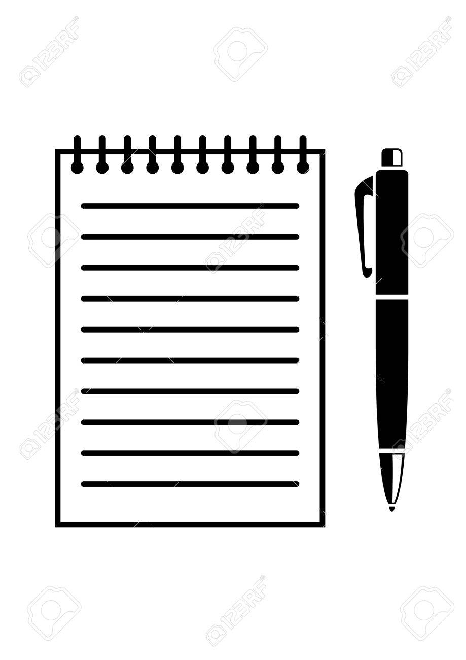 writing pad and pen royalty free cliparts, vectors, and stock