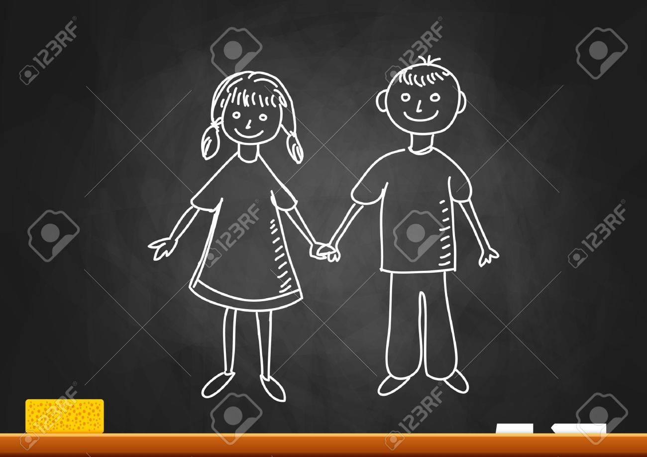 Drawing of children on blackboard - 18335545