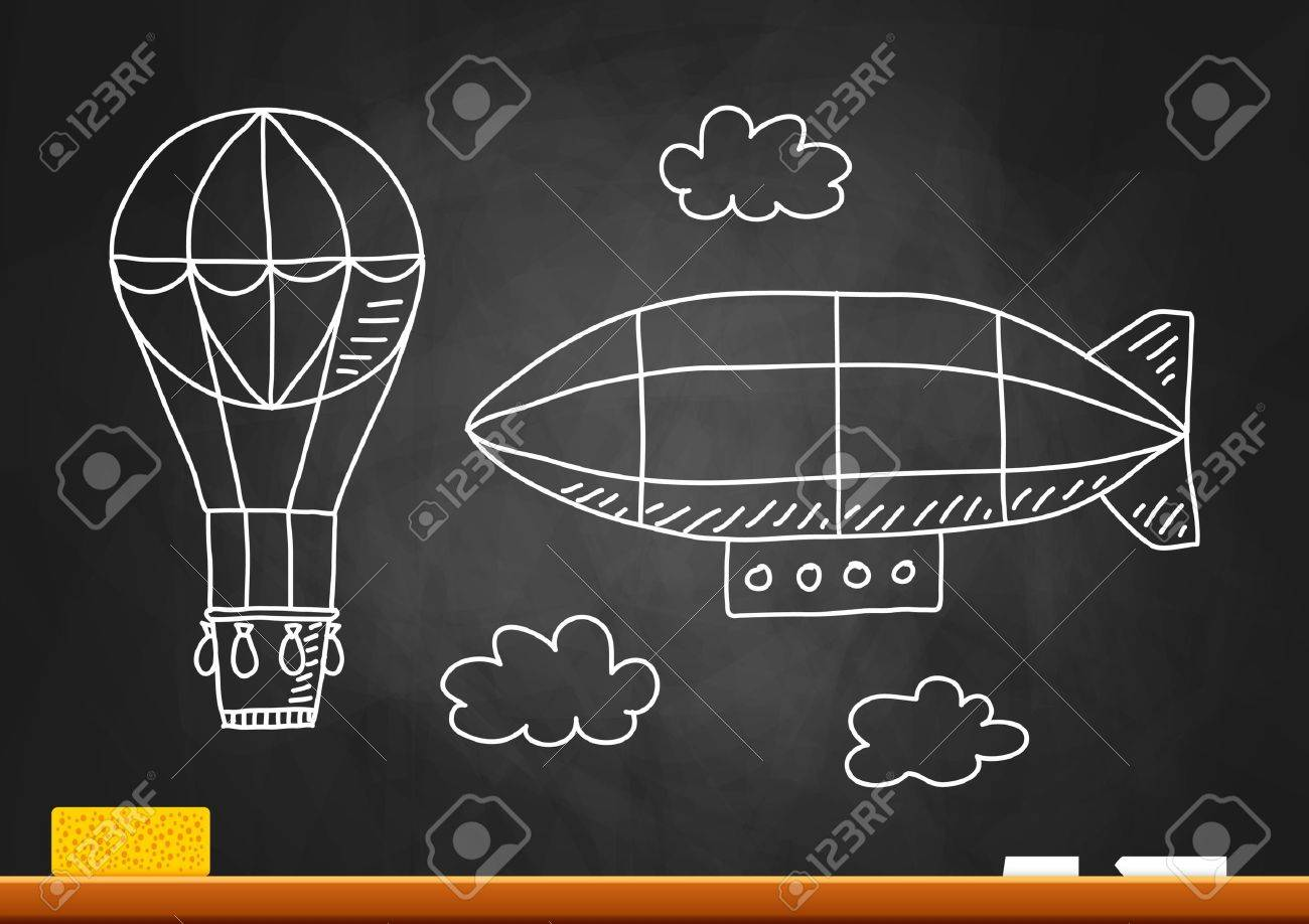 Hot air balloon and airship on blackboard - 18406779